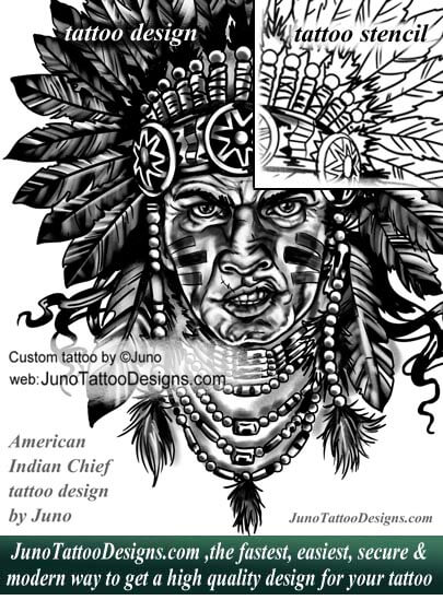 american indian chief tattoo, tattoo stecil, juno tattoo designs.com