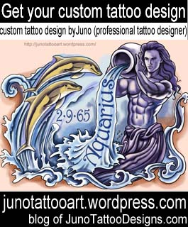 aquarius tattoo-zodiac tattoo-custom design