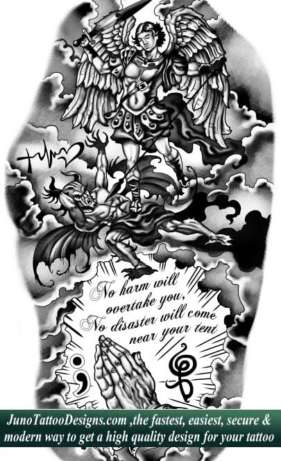 archangel demon tattoo , praying hands tattoo, quote tattoo,sleeve tattoo ,junotattoodesigns