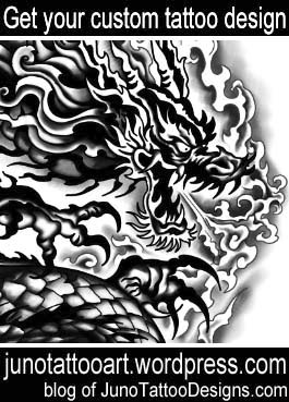 asian dragon tattoo-custom design