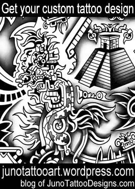 aztec art tattoo-mayan pyramid tattoo-custom design