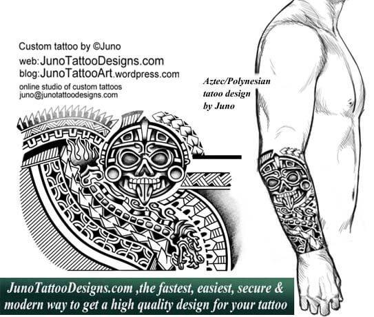 aztec tattoo, polynesian serpent tattoo, forearm tattoo, junotattoodesigns