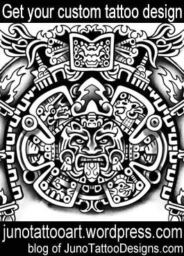 aztec sun tattoo-shoulder tattoo-custom design