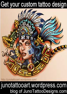 aztec warrior girl tattoo design-custom design