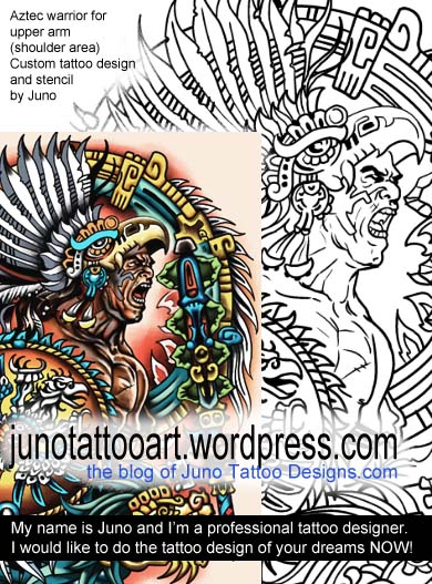 aztec warrior tattoo,custom tattoo, tattoo stencil, tattoo designer