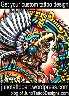 aztec warrior tattoo design-custom design