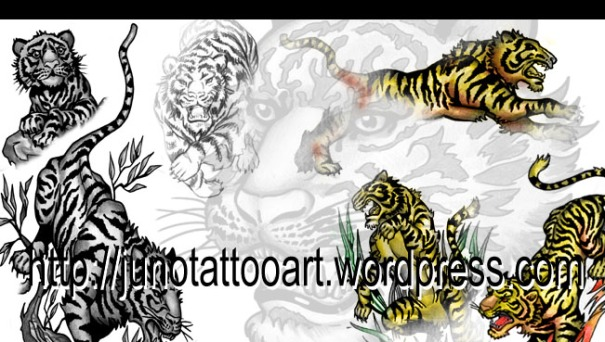tiger tattoo, animal tattoo