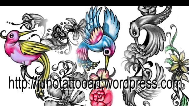 flowers and birds tattoo, humming bird tattoo, flower tattoo, rose tattoo, feminine tattoo