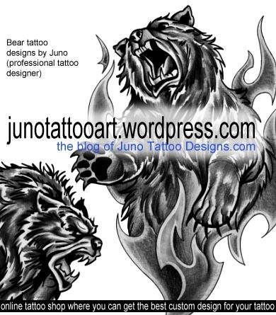 bear tattoo, male tattoo