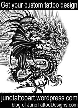 black asian dragon tattoo-arm tattoo-custom design