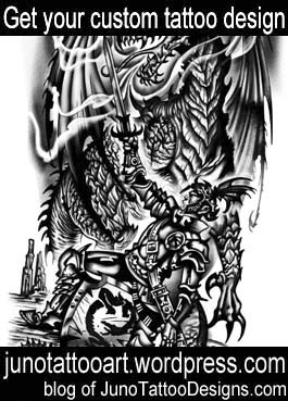 dragon warrior tattoo-arm tattoo-custom design