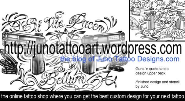 gun tattoo,quote tattoo,back tattoo,chicano letter tattoo,chicano font tattoo,font tattoo design