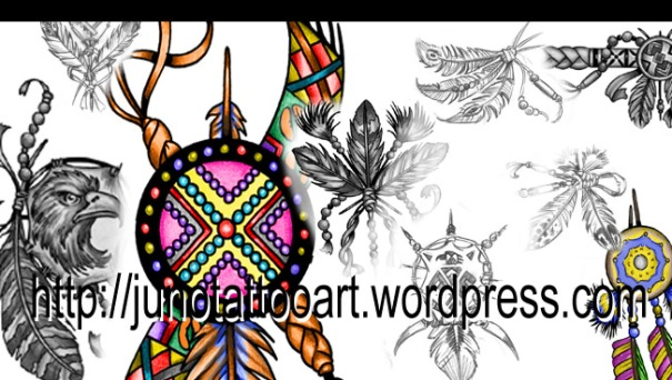 indian feather tattoos, dream catcher tattoos