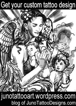 mother angel cherubs tattoo-religious tattoo-custom design