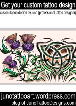scottish thistles tattoo-back male tattoo-custom design