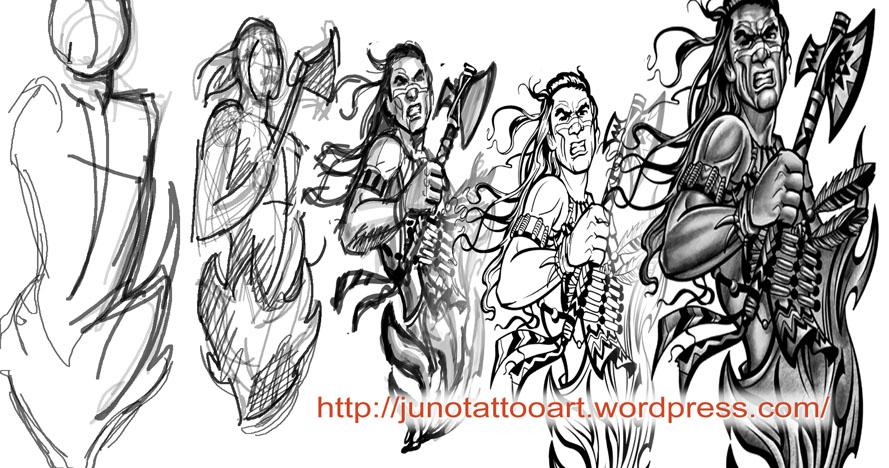 Indian Warrior Tattoo Designs American
