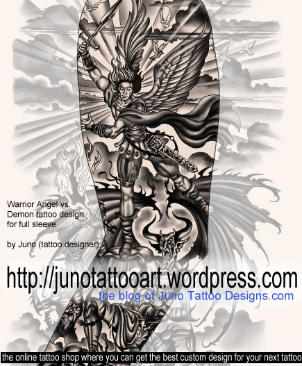 warrior angel versus demon tattoo,demon tattoo,archangel tattoo,sleeve tattoo,arm tattoo,maculine tattoo,god and evil tattoo,