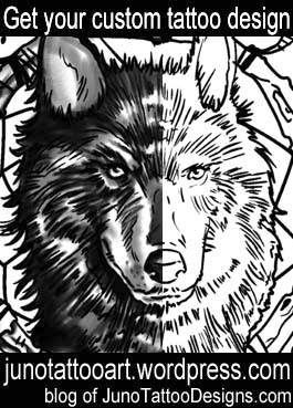 wolf head tattoo stencil-custom design