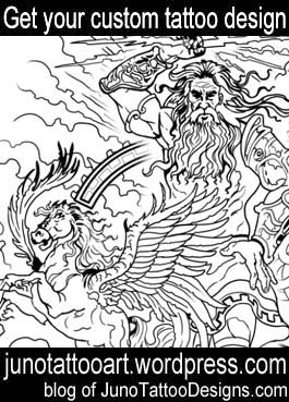 Zeus pegaso tattoo stencil-greek mythology tattoo-custom design