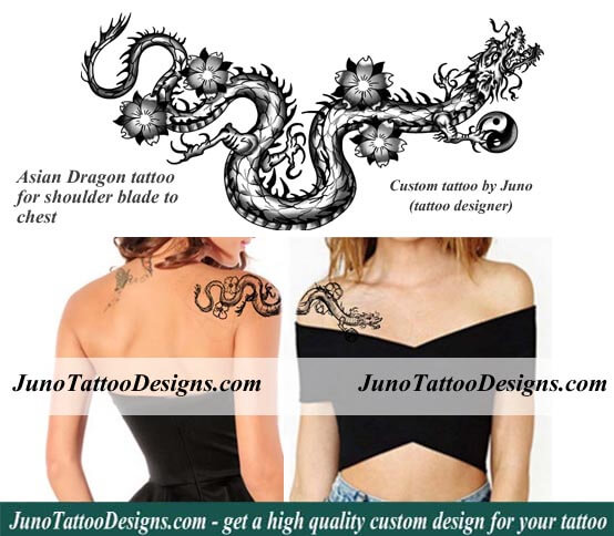 asian dragon feminine shoulder by Juno tattoo designs.com custom
