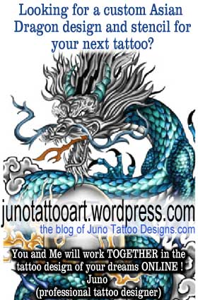 asian dragon tattoos custom tattoos made to order by juno professional tattoo designer. Black Bedroom Furniture Sets. Home Design Ideas