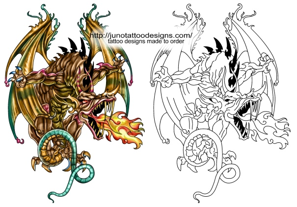 dragon tattoo free stencil template