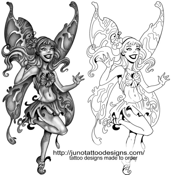 free tattoo stencil fairy