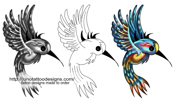 humming bird free tattoo stencil template