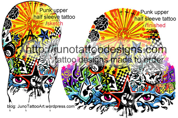 -new shool tattoo-punk tattoo design-upper arm tattoo