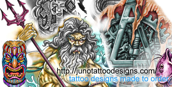 tiki tattoo-poseidon tattoo-biomechanic tattoo-buddha tattoo-fish tattoo