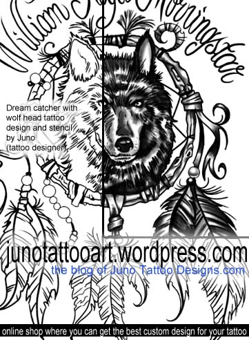 Dream catcher with wolf head tattoo design stencil