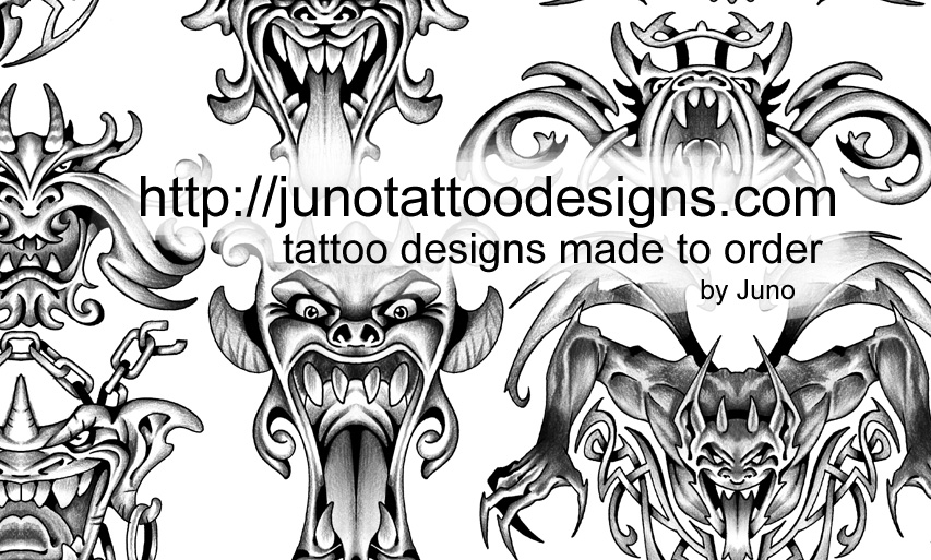 grim reaper gargoyle tattoos custom tattoos made to order by juno professional tattoo designer. Black Bedroom Furniture Sets. Home Design Ideas