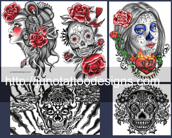 skull tattoos, sugar skull tattoo,portrait tattoo