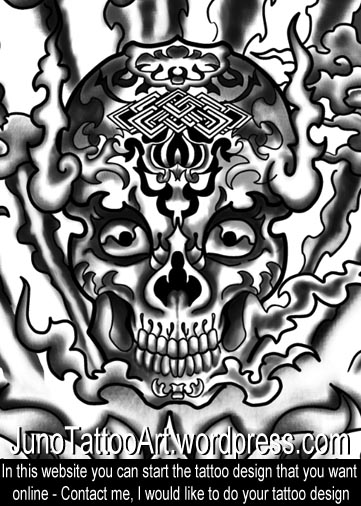 Tibetan Skull tattoo,  detail of full sleeve tattoo
