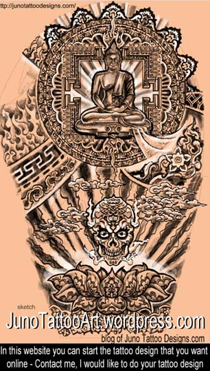 Tibetan Skull tattoo - full sleeve buddist tattoo by Juno