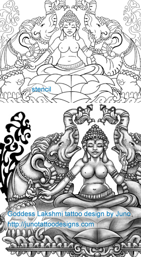 Goddess Lakshmi tattoo