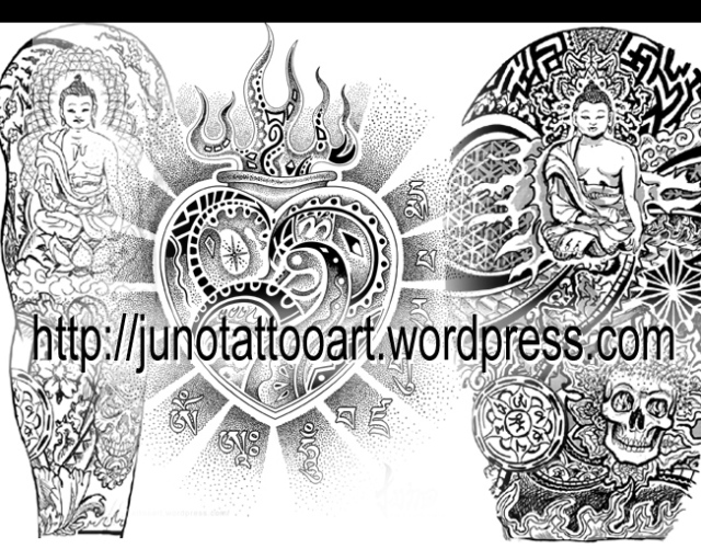 Tibetan tattoo sleeves - Tibetan heart tattoo design