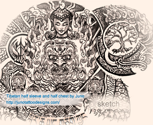tibetan tattoo sketch for sleeve , chest tattoo, shoulder blade tattoo