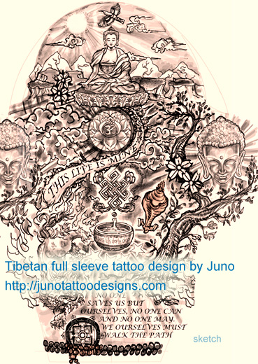 Tibetan tattoo for sleeve, tibetan arm tattoo, tibetan custom tattoo
