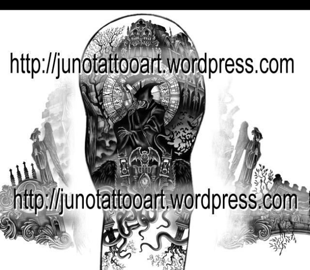 gothic tattoo,sleeve tattoo,grim reaper tattoo,dark tattoo,clock tattoo,horror tattoo,terror tattoo,dark angels tattoo,ruins tattoo,cathedral tattoo