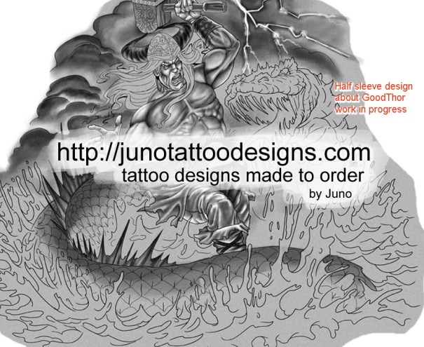 Thor tattoo,Thor vs Midgard Serpent tattoo