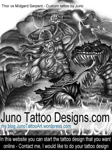Thor vs Midgard Serpent - Custom tattoo by Juno
