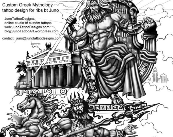 greek mythology tattoo by juno -custom Zeus and Poseidon tattoo for ribs