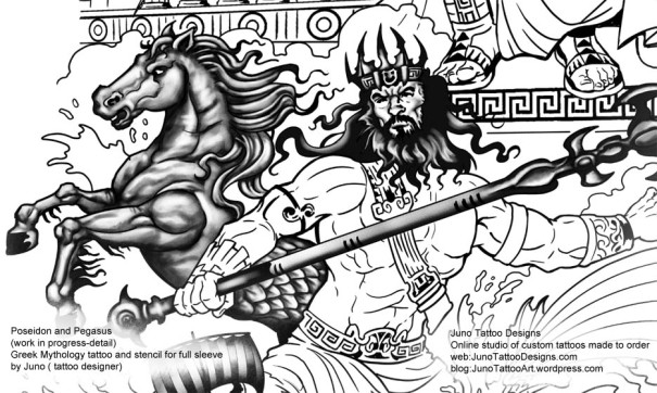 greek mythology tattoo,full sleeve tattoo, custom tattoo,poseidon tattoo, tattoo stencil,pegasus tattoo,arm tattoo.ribs tattoo