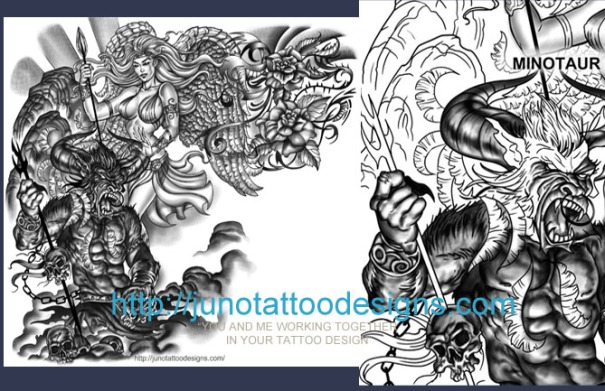 Greek Mythology tattoo,Minotaur tattoo,angel tattoo,sleeve tattoo,chest tattoo,arm tattoo