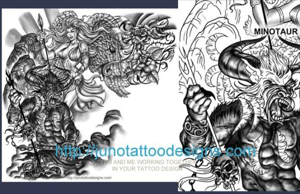 Greek Mythology tattoo,Minotaur tattoo,angel tattoo,sleeve tattoo,chest tattoo,arm tattoo
