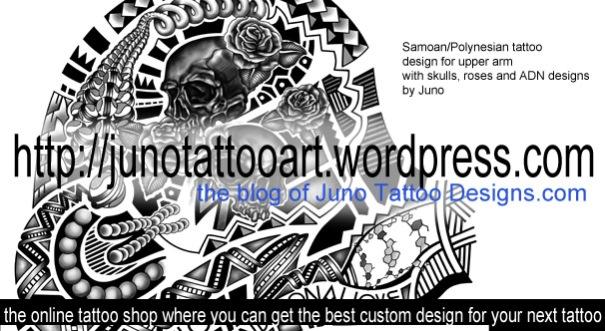 Samoan tattoo,polynesian tattoo,roses tattoo,ADN tattoo,sleeve tattoo,skull tattoo