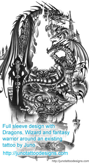 dragon tattoos custom tattoos made to order by juno professional tattoo designer. Black Bedroom Furniture Sets. Home Design Ideas