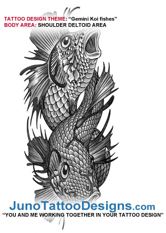 two koi fishes tattoo, koi fish tattoo, japanese tattoo