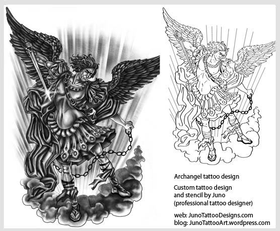 angels cherubs and archangel tattoos custom tattoos made to order by juno professional tattoo. Black Bedroom Furniture Sets. Home Design Ideas